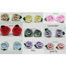Polymer Clay Small Rose Flower Stud Earrings Blue Pink Lilac Purple Yellow - $6.99