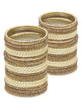 Lacquer Glass Wedding Bangles for women Cream Z... - $96.00