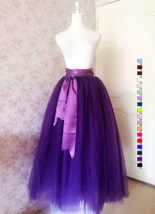 Women High Waist Maxi Tulle Skirt A Line Holiday Formal Bridal Tutu Skirt Purple image 3