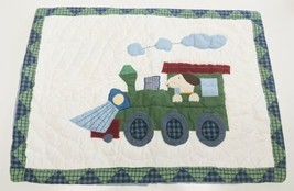 Pottery Barn Kids Quilted Pillow Sham Puppy Dog In Train Blue Green Cotton 20X26 - $14.89