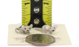 Hagen Renaker Miniature Mouse Baby Curled and Straight Tail Ceramic Figurine Set image 2