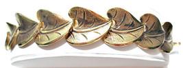 VINTAGE GOLD TONE TEXTURED BEANSTALK STYLE LEAF LEAVES BRACELET GOLD TONE - $17.00