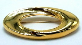 """Vintage Napier Signed Gold Tone Oval Swirl Pin Brooch 2"""" x 1 1/8"""" - $14.95"""