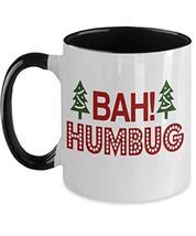 Bah Humbug Red White Black Christmas Mug Ceramic Cup for Cousin Brother - $19.75