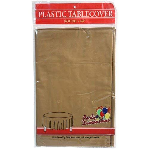 Party Dimensions 51029 84 in. Gold Round Plastic Tablecover - 36 Per Case
