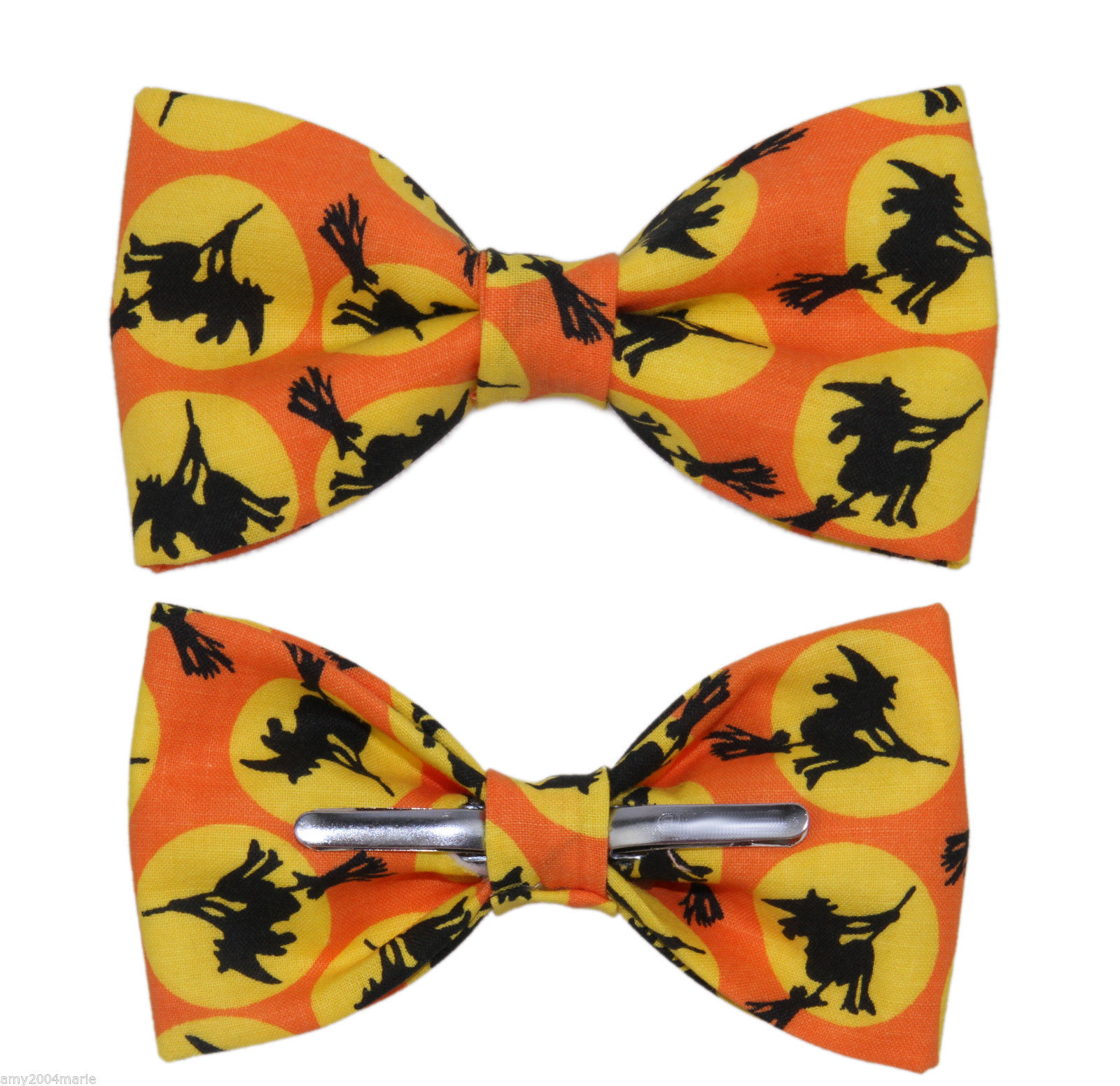 New Orange & Black Witch Halloween Clip On Cotton Bow Tie Bowtie ~ Men or Boys