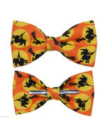 New Orange & Black Witch Halloween Clip On Cotton Bow Tie Bowtie ~ Men o... - $12.99