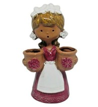 Vintage UCTCI Stoneware Art Pottery Figurine Girl Holding Flower Pot Japan - $35.64