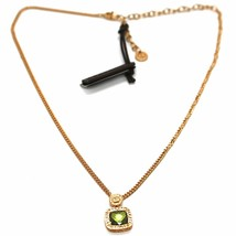 REBECCA BRONZE YELLOW NECKLACE, GROUMETTE CHAIN, GREEN CRYSTAL SQUARE, B14KOP22 image 1