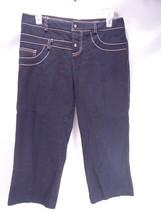 Poleci Black White Textured Capri Cotton Pants ... - $9.89