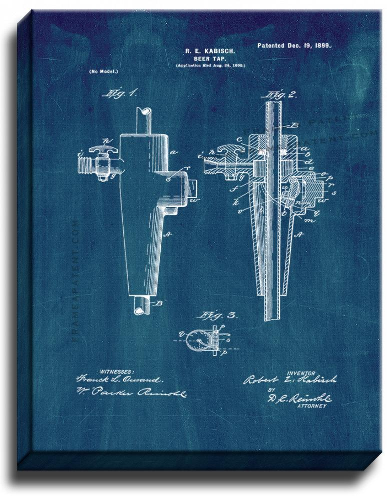 Primary image for Beer Tap Patent Print Midnight Blue on Canvas