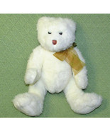 "TY BEANIE TEDDY BEAR 13"" WHITE STUFFED ANIMAL PLUSH WITH GOLD RIBBON SOFT TOY - $11.88"