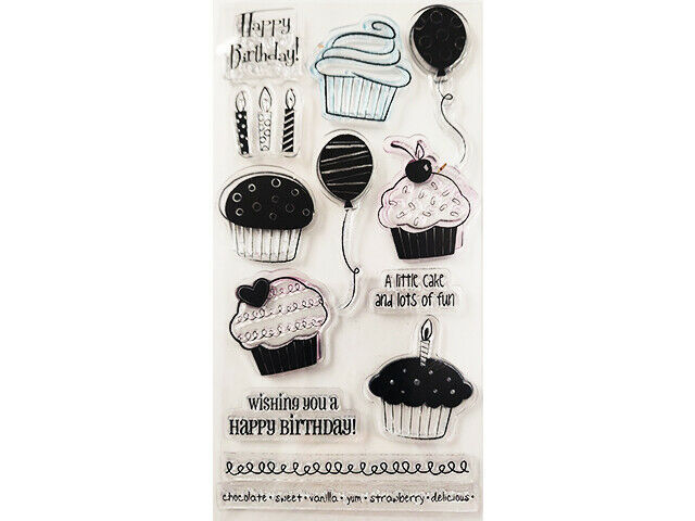 Happy Birthday and Cupcakes Clear Stamp Set