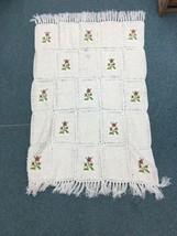 """Antique Vtg Handmade Crochet Throw Blanket 42""""x 60"""" Squares flowers Popcorn - $129.99"""
