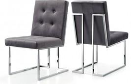 Meridian Furniture Alexis Modern Grey Velvet Chrome Legs Dining Chair (Set of 4)