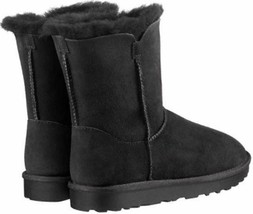 Kirkland Signature Women's Black Sheepskin Shearling Winter Boots w Zipper NIB image 2