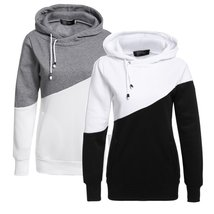 Women Long Sleeve Patchwork Pullover Slim Hooded Hoodie Sweatshirt with Pockets