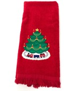 CHRISTMAS Embroidered Bathroom Kitchen Hand Towel Cotton Red 25x16 - $34.19