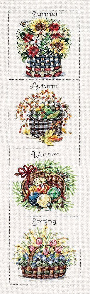 Janlynn Seasonal Baskets Counted Cross Stitch Kit 6-Inch x 24-Inch