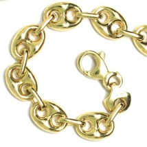 18K YELLOW GOLD MARINER BRACELET BIG 8 MM, 8.3 INCHES, ANCHOR ROUNDED OVAL LINK image 1