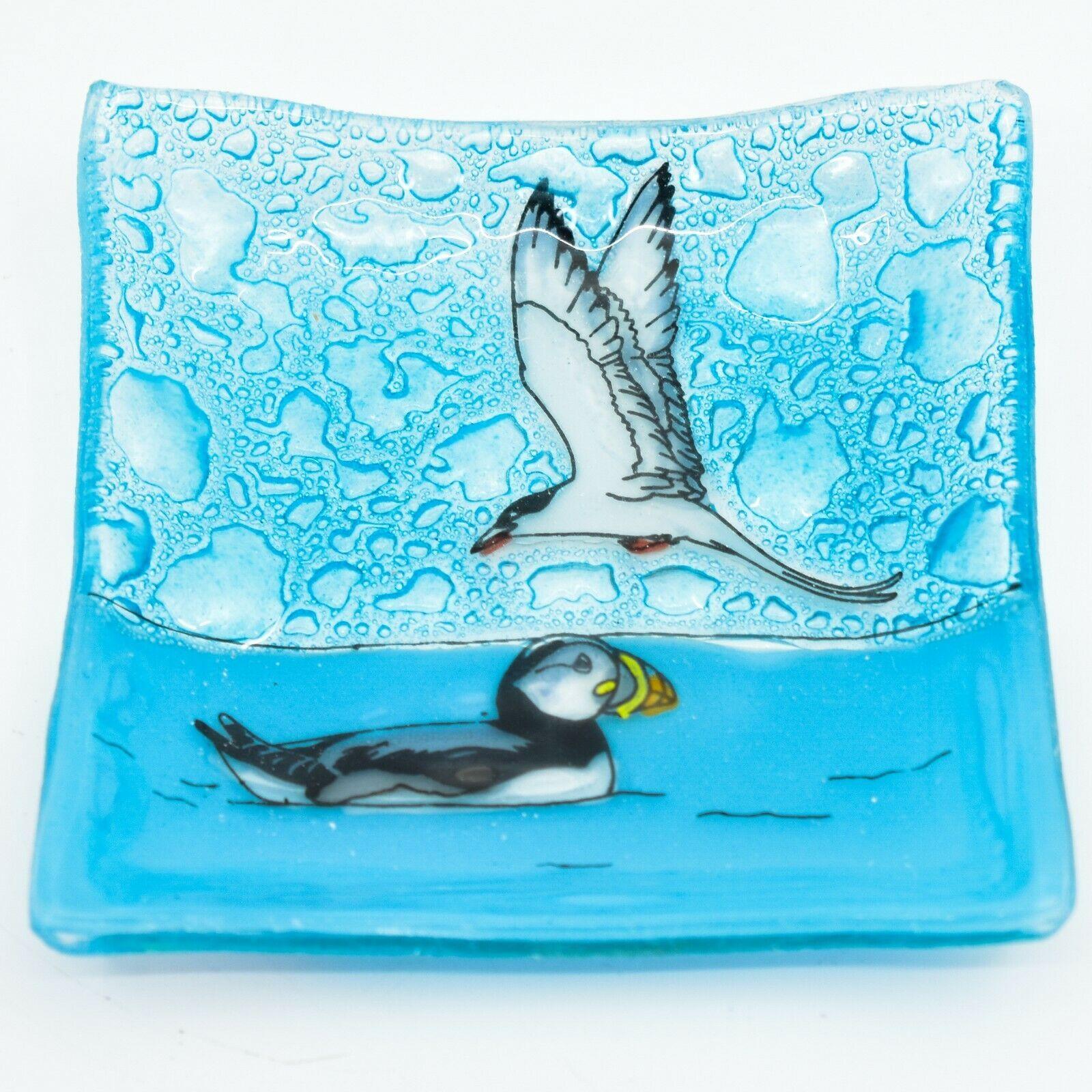 Fused Art Glass Puffin Tern Aquatic Bird Design Soap Trinket Dish Made Ecuador