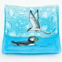 Fused Art Glass Puffin Tern Aquatic Bird Design Soap Trinket Dish Made Ecuador image 1