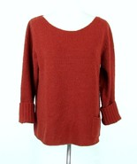 EILEEN FISHER Size M Nubby Wool Blend Sweater Brick Red 3/4 Sleeves - $42.99