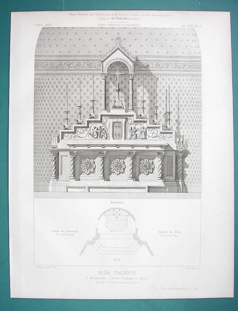 Primary image for ARCHITECTURE PRINT 1866: FRANCE Asylum Chapel in Braqueville View of Altar