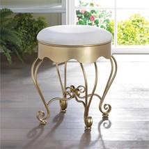 Golden Scrollwork Stool w/ White Cotton Seat  - $62.95