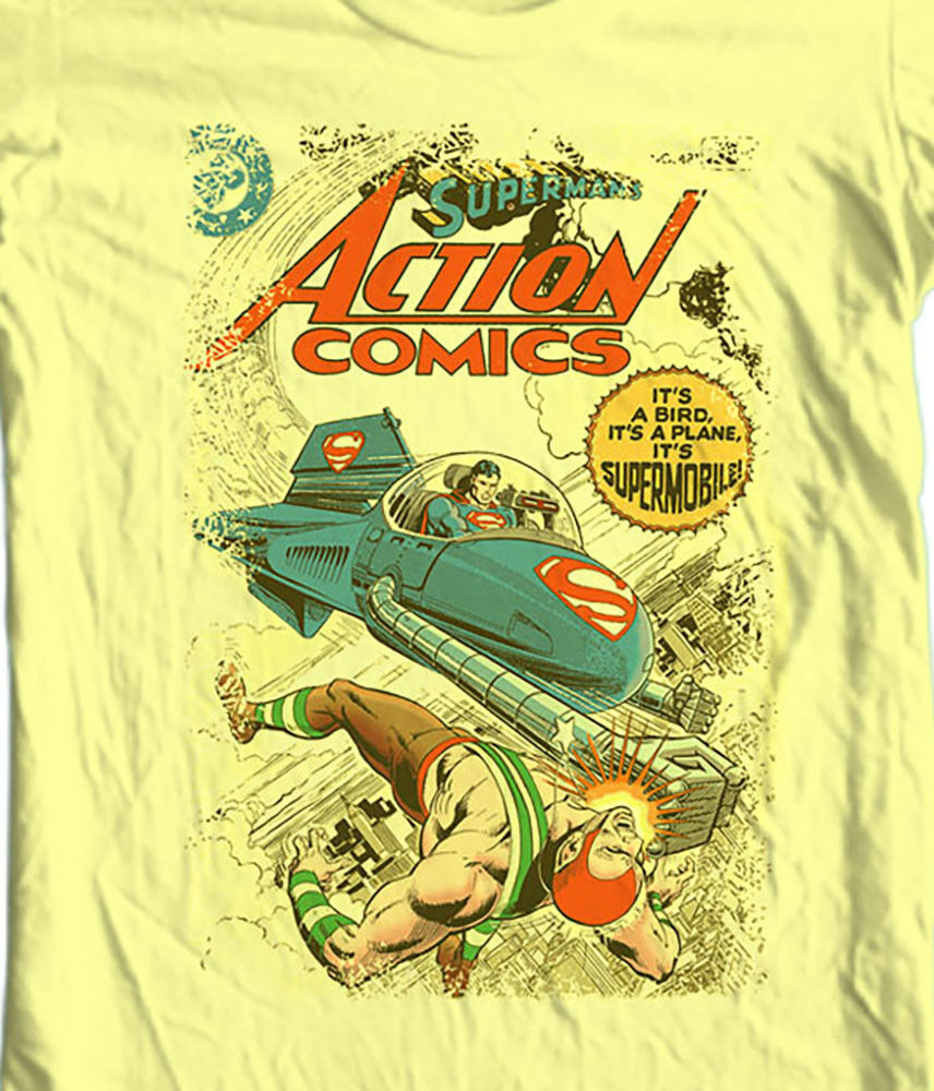Superman Supermobile T shirt old vintage DC Action Comics graphic tee SM1751
