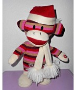 Gemmy Dancing Monkey Santa Hat Red Pink Stripes Only Girl in the World R... - $16.81