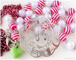 Sailor Jupiter Necklace, White and Pink Chain, Acrylic Pendant in Silver... - $23.00