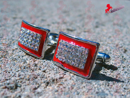 Silver Finish Cufflinks with Red Boarder and Diamond Like Stones – Wedding Gift - $3.95