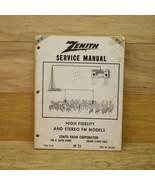 Zenith Service Manual HF 22 1968 High Fidelity & Stero FM Models Part # ... - $10.09