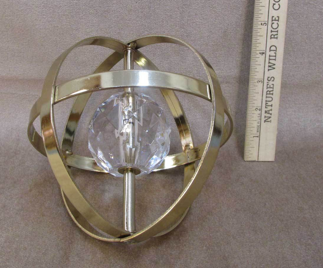Sphere Sun Catcher Round Plastic Faceted Crystal in Center Paperweight Prism