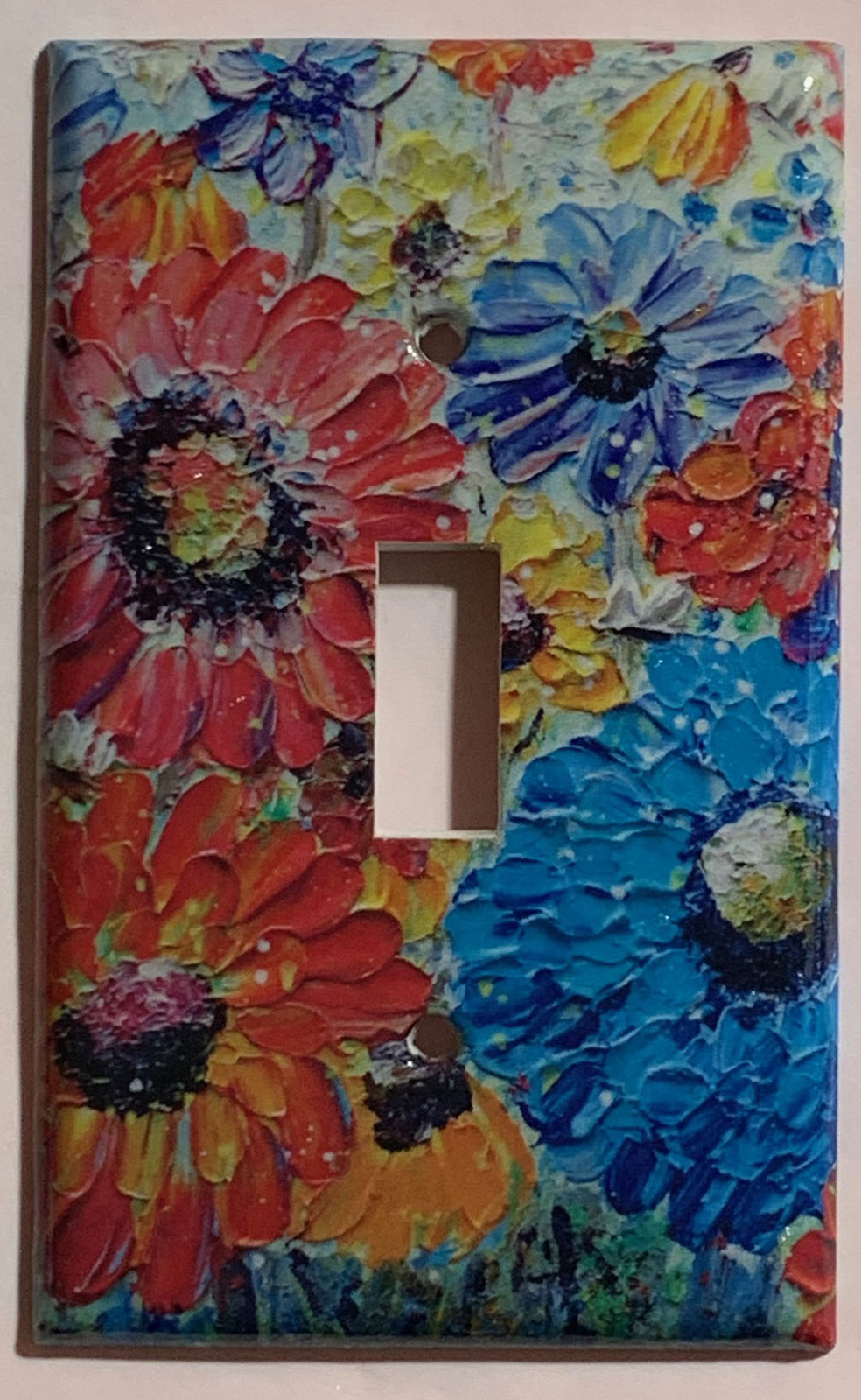Flowers oil painting Art image Light Switch Outlet wall Cover Plate Home Decor