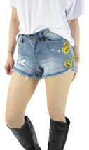 VANILLA STAR Junior Cotton Floral Embroidered Denim Frayed Shortie Short... - $10.09