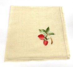 """Lot of 6 Ivory  Vintage Embroidered Strawberry Linen Napkins 16.5"""" x 16.... - $23.23"""