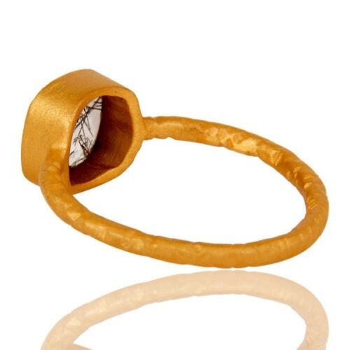 New Jaipur 925 Sterling Silver Natural Rutile Gemstone Party Wear Ring Jewelry