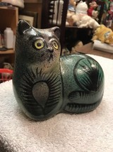 Cat Figure Terra Cotta Green Black Stripes With Yellow Eyes Laying Down ... - $18.75