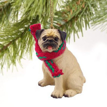 PUG FAWN DOG  CHRISTMAS ORNAMENT HOLIDAY Figurine scarf tan - $10.99