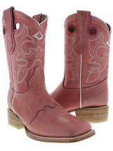 Womens Pink Mid Calf Leather Pull On Cowboy Wear Boots Riding Rodeo Squa... - $129.99