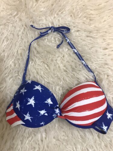 Xhilaration Bikini Swim Top American Flag Patriotic Push Up Tie Neck Size Med
