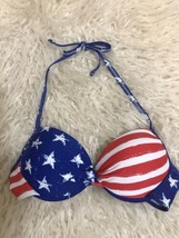Xhilaration Bikini Swim Top American Flag Patriotic Push Up Tie Neck Size Med - $9.89