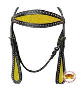 Hilason Western Horse Headstall Bridle American Leather Black Yellow U-W-HS - $63.31