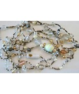"Vintage 2 Strand Glass Beaded Necklace 44"" Long Earth Tones Art Glass Be... - $19.79"