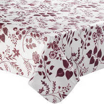 Flowing Flowers Vinyl Tablecovers By Home-Style Kitchen-60X120OBLONG-BURGUNDY - $19.39