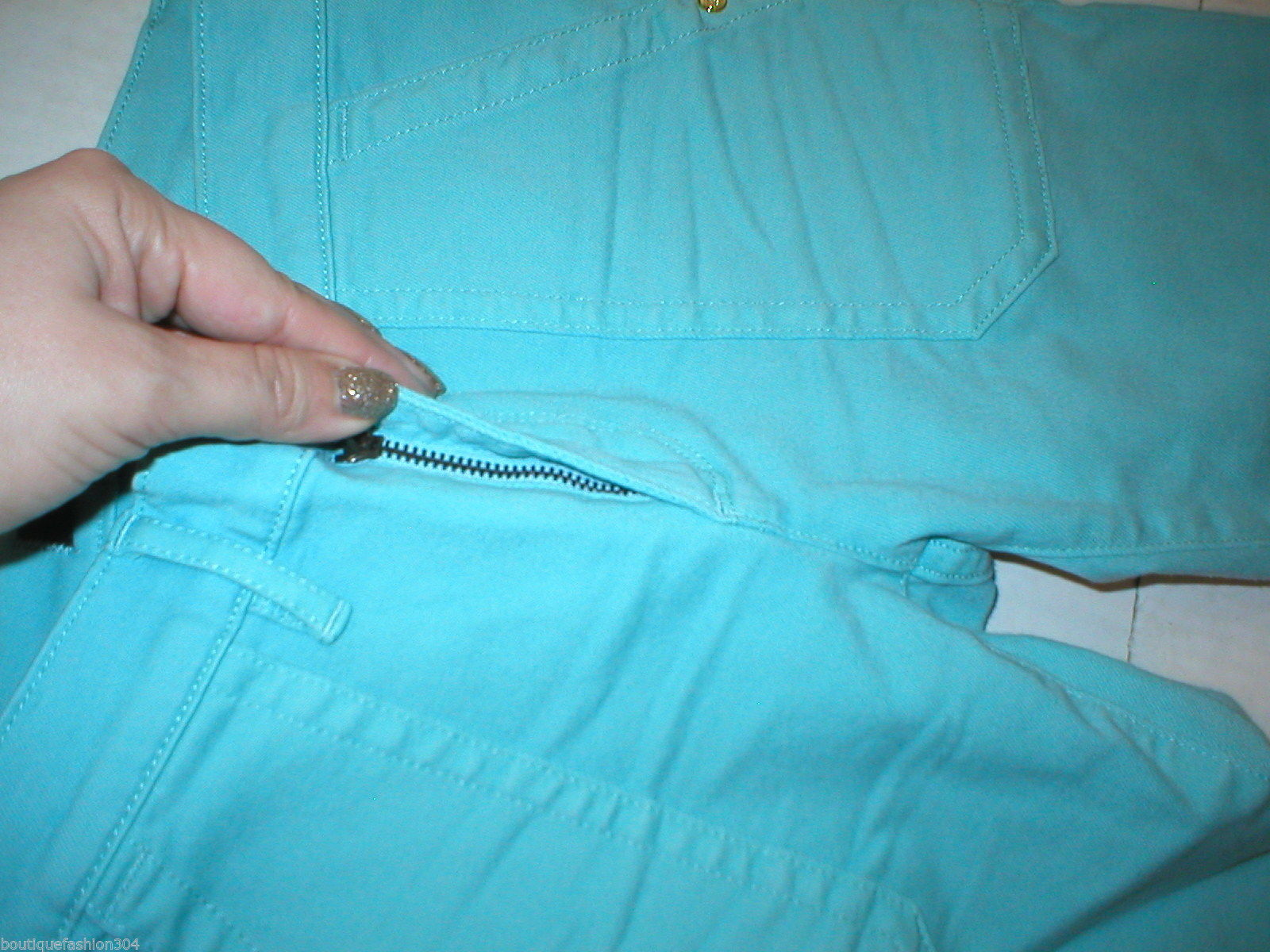 New Logo Crop Jeans Juicy Couture 25 Womens Snap Pockets Aqua Blue Teal Skinny image 5