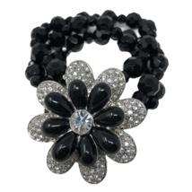 Lia Sophia Black Beaded Stretch Bracelet Clear Silver Tone Crystal Flower - $14.84