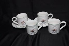 GEI Snowman Xmas 4 Cups 2 Saucers - $28.41